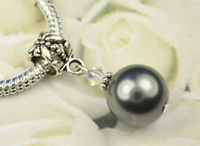 Dark Gray Crystal Pearl Dangle Charm Bead European Style w Swarovski Elements