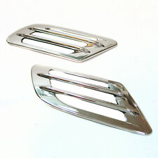 2x Chrome Wing Air Side Vent Trim Intake Fender Cover Duct Flow Grille New