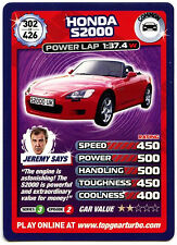 HONDA s2000 #302 TOP GEAR TURBO CHALLENGE TRADE card (c362)