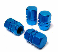 Blue Car Tyre Wheel Alloy Dust Valve Cap Cover x 4 Aluminium Caps VW