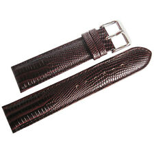 19mm deBeer Mens Brown Teju Lizard-Grain Leather Watch Band Strap