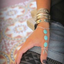 FemNmas Blue Beads Thumb Ring chain Celebrity Bracelet
