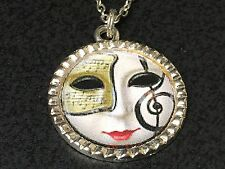 "Theatre Music Mask Charm Tibetan Silver 18"" Necklace BIN"