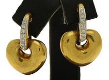 ESTATE 18K Yellow Gold Diamond Heart Drop Earrings