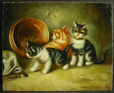 Trois chatons huile sur panneau c1900 oil on panel three kittens chats cats