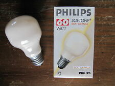 RARE ORIGINAL PHILIPS E27 60W T60 Nuance MANDARINE, HINT OF PEACH SOFTONE ORANGE