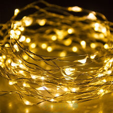 100LEDs Warm White Battery Powered Copper Wire Xmas Party String Fairy Light 10M
