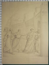 c1880 LARGE ANTIQUE PRINT ~ ST STEPHEN THRUST OUT BEFORE HIS MARTYRDOM TUNNER