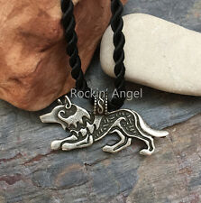 Antique Silver Plt Prowling Wolf Pendant Necklace, Ladies Mens Gift Viking Norse
