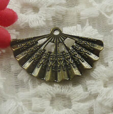 free ship 30 pieces bronze plated fan pendant 33x21mm #2266