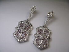 Wonderful Antique Estate Sterling Silver Mother of Pearl Diamond Earrings