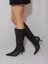 Women Brown Knee High Boots Point Toes Real leather Soft Comfortable Size 7