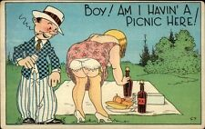 Picnic - Woman Bends Over & Shows Her Underwear - Man Peeks Postcard