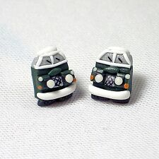 landrover stud earrings green handmade glow in the dark head lights