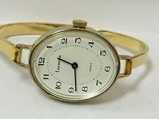 Lucerne Swiss Vintage Ladies  Gold Tone Windup Bangle Watch-New Old Stock#941