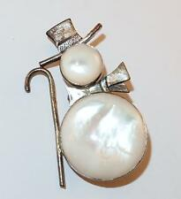 VINTAGE SIGNED STERLING SILVER MOTHER OF PEARL FIGURAL SNOWMAN W/CANE BROOCH PIN
