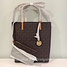 NWT Michael Kors Hayley Large Convertible Brown/Peanut Tote MK Logo Bag $198