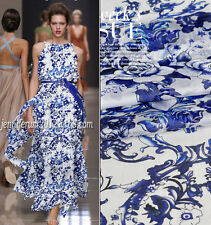 DESIGNER 100% SILK CHIFFON BLUE & WHITE PORCELAIN ROSES PRINT BY THE METRE 223