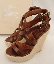 BURBERRY Brown Leather Weges Sandals Shoes Heels UK4 /37  New