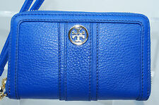 Tory Burch Smartphone Wristlet Wallet Clutch Handbag Bag Blue Leather NWT