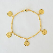 Persian Bracelet Ancient Coin 8.5 inches 24k Gold Plated - Gold Coin Jewelry