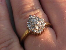 Estate .25ctw Natural Round Cut Diamond Cluster 10k Yellow Gold Dinner Ring 2.1g