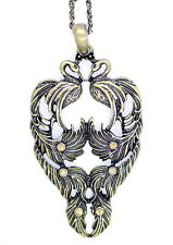 Vintage Art Deco style two peacocks / phoenix necklace