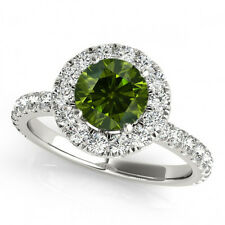 1 Ct Green Diamond Classy Solitaire Halo Wedding Sparkling Ring 14K White Gold