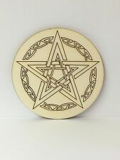 Handcrafted Wooden Altar Tile with Celtic Pentagram ~ Ritual ~ Cauldron ~ Wicca