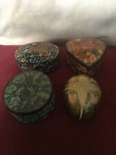 Group Of Four Contrasting Kashmiri (?) Laquered Boxes,Egg Form,Heart Shape Etc