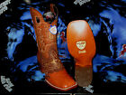 WILD WEST GENUINE OSTRICH SQUARE COGNAC RODEO WESTERN COWBOY BOOT 1D20303