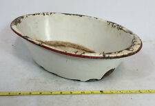 Antique Vtg Distressed Metal Porcelain Enamelware Extra Large Farm Trough Bowl