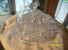 Vintage Round Clear Cut Crystal Hobstar & Rosette Glass Covered  Butter Dish