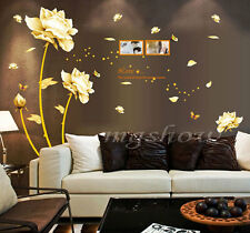 Blooming Flowers Art Mural Living Room Decor Vinyl Removable Wall Sticker Decals