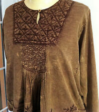 Hippy FRINGEs boho Indian Embroidered long top Size 12 14 16 18 BROWN sb-2