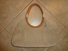 THE SAK TAUPE SUMMER BAG LEATHER WEAVED HANDLED  EXCELLENT PREOWNED