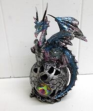G71508 TURQUOISE DRAGON ON GLOBE LED LIGHT GSC GEORGE CHEN STATUE FIGURINE