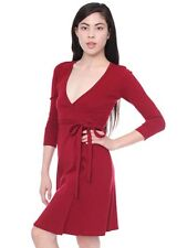 American Apparel Interlock Wrap Shirt Dress M Burgundy Red Cotton Jersey Holiday