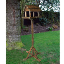 PREMIUM WOODEN BIRD TABLE PORTABLE FEEDING STATION DELUXE FEEDER FREE STANDING