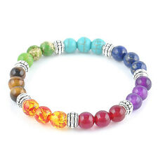1x Hot Women 7 Gemstone Chakra Lava Rock Stone Prayer Reiki Bead Bracelet Bangle