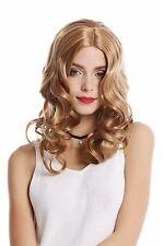 Perruque Pour Femme Halloween Carnaval lang blond Raie au milieu ondulés 90654