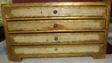 VINTAGE  WOOD JEWELRY BOX CHEST (4) DRAWERS  ITALY MADE