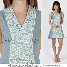Vintage 70s Boho Prairie Dress Hippie Blue Floral Crochet Lace Festival Mini S