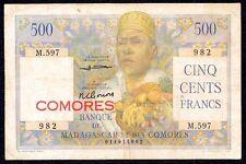 MADAGASCAR & COMORES Overprint Comores 500  Francs  1960  P-4b