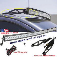 "50"" 672W CREE LED CURVED LIGHT BAR + Mounting Brackets For Toyota Tundra 07-14"