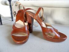 Michael Kors Stunning Brown Leather High Heel Strappy sandal, size 4 37