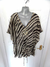 ❤ @THE BEACH Gorgeous Size 16 Brown & Cream Beaded Batwing Kaftan Blouse Top
