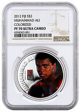 2012 Fiji $2 1 oz. Colorized Proof Silver Muhammad Ali NGC PF70 UC SKU41660