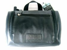 PENGUIN Mens Leather Toiletry Travel Shave Kit Bag Black New NWT $49.5