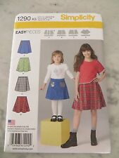 NEW SIMPLICITY EASY PIECES GIRLS SKIRT PATTERN #1290  SIZE 7-14**FREE SHIPPING**